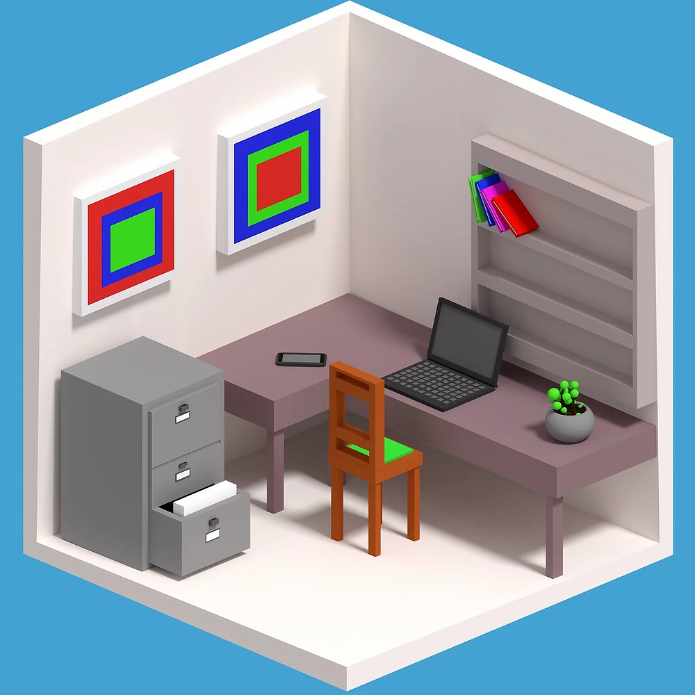 A room with office equipment.