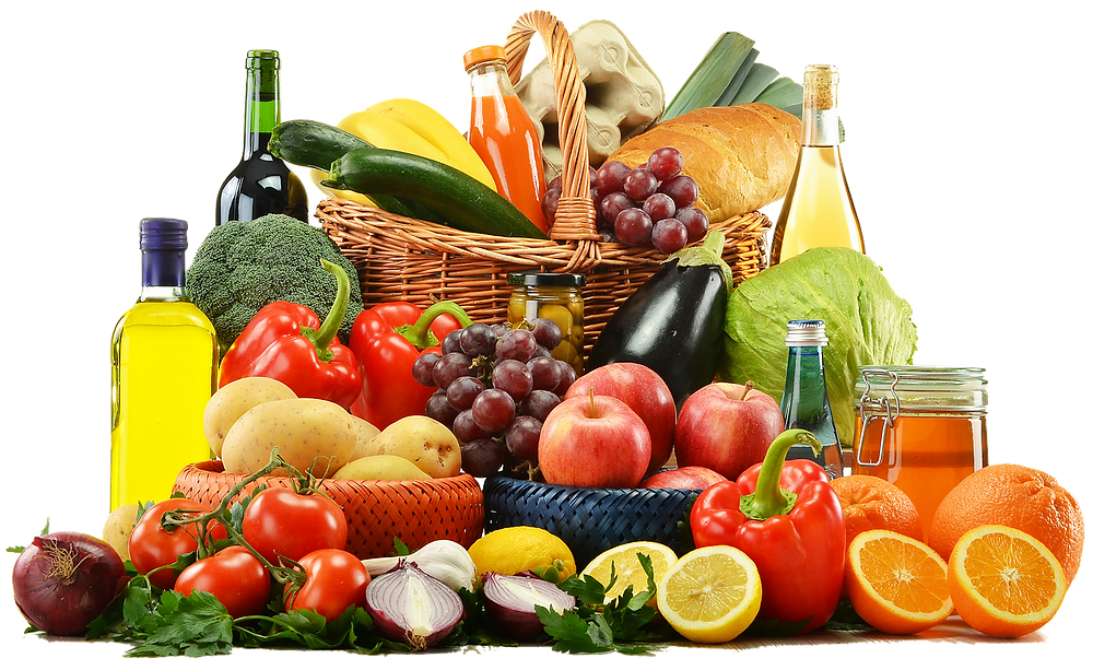 Fruits and veggies in a pile