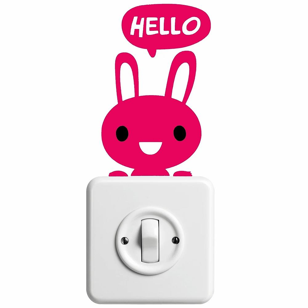 A bunny sticker above a light switch