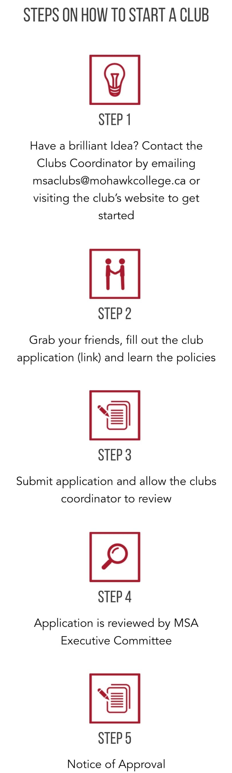 A graphic highlighting the steps to start an MSA Club.