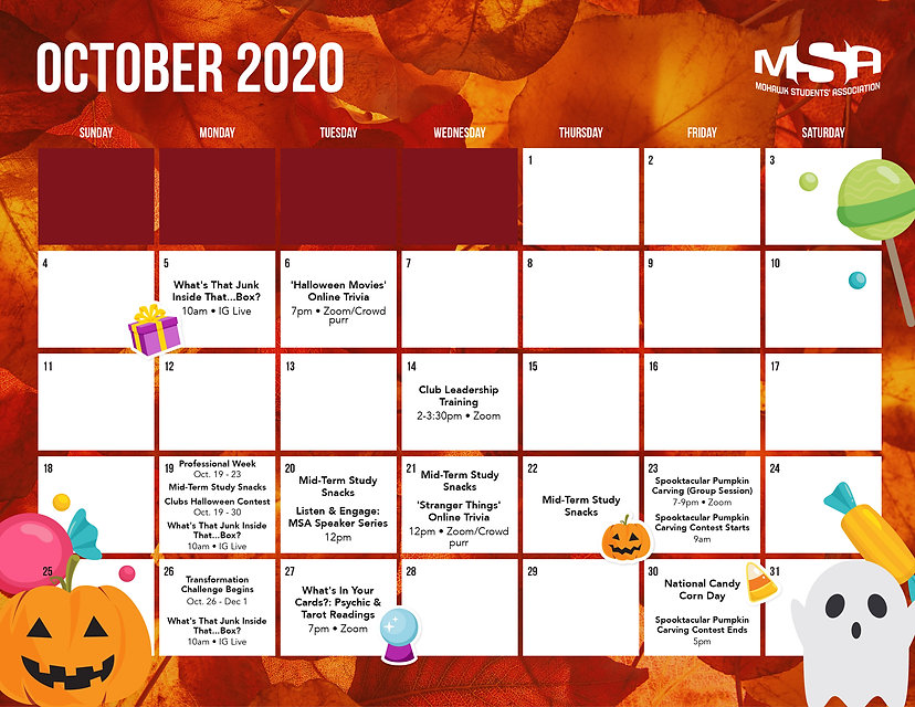 MSA General Event Calendar - October 2020