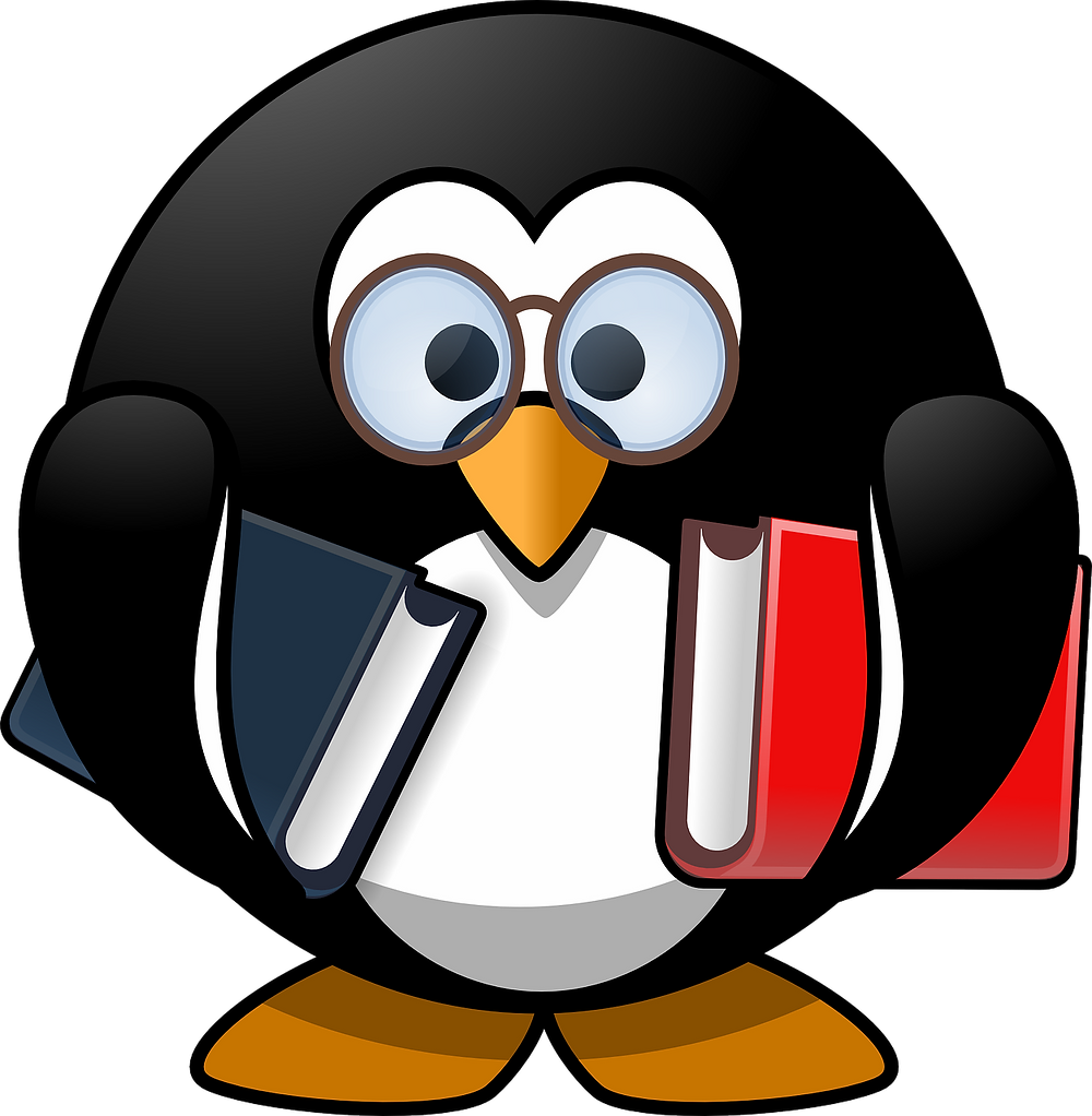A penguin holding two books