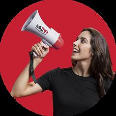 Smiling girl holding a megaphone