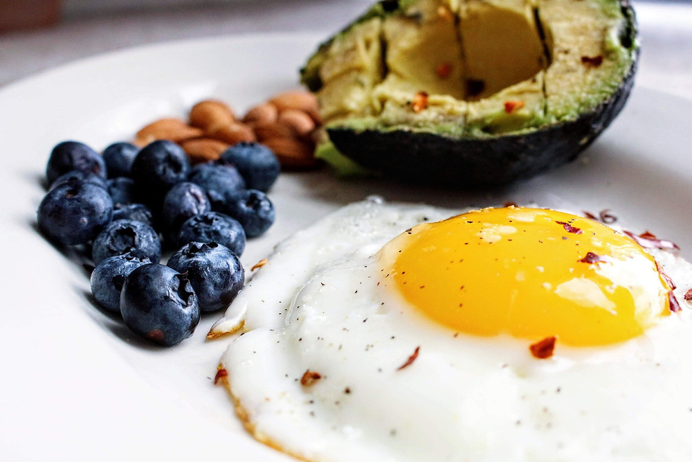 A plate of eggs, blueberries, almonds, and an avocado.