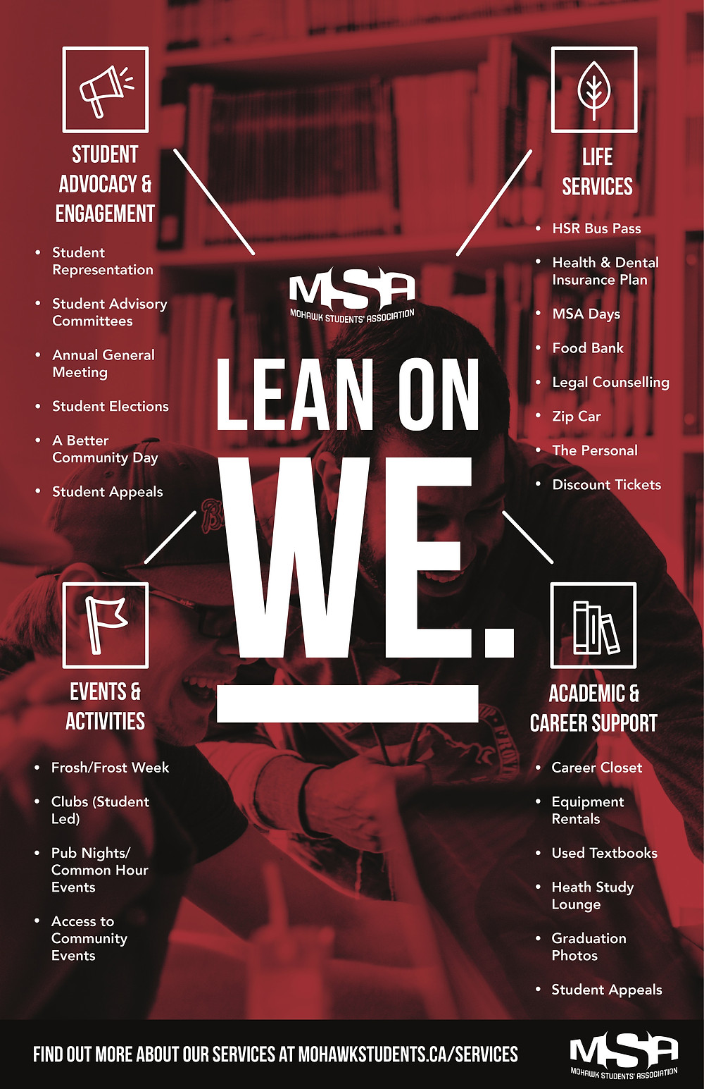 A graphic of all the services the MSA offers.