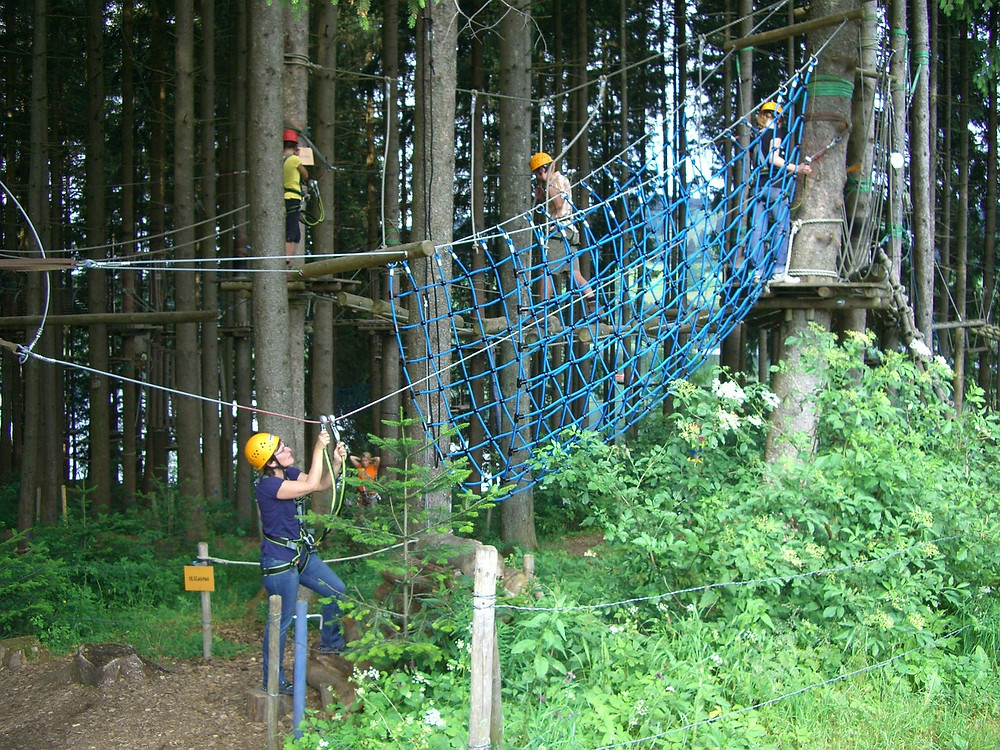 A group of people going through a high-ropes course.