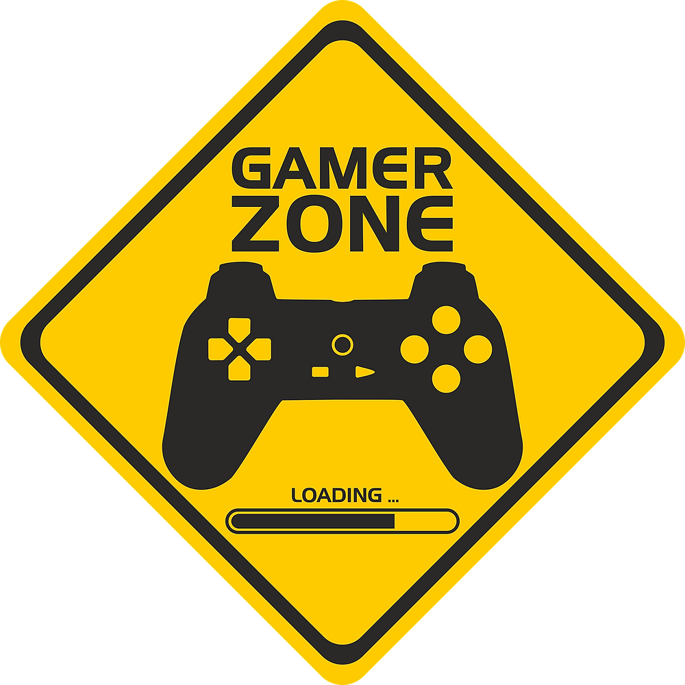 A sign with a game controller on it.