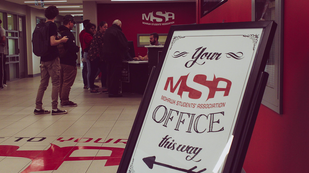 MSA front desk at Mohawk's Fennell campus.
