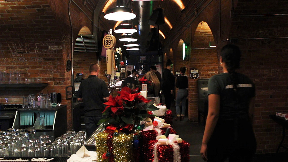 The Cellar at Mohawk's Fennell campus decorated for the holiday season.