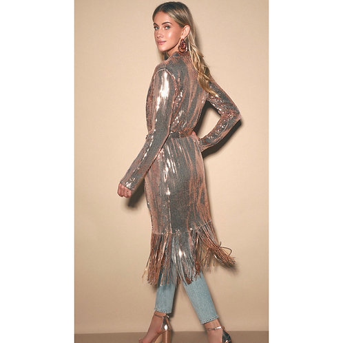 Rose Fringe Sequins Duster
