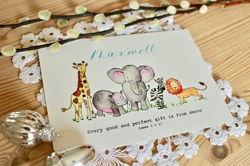 New born Safari Print (Customisable)