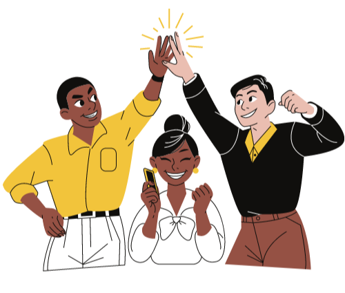 Illustration of colleagues high fiving each other