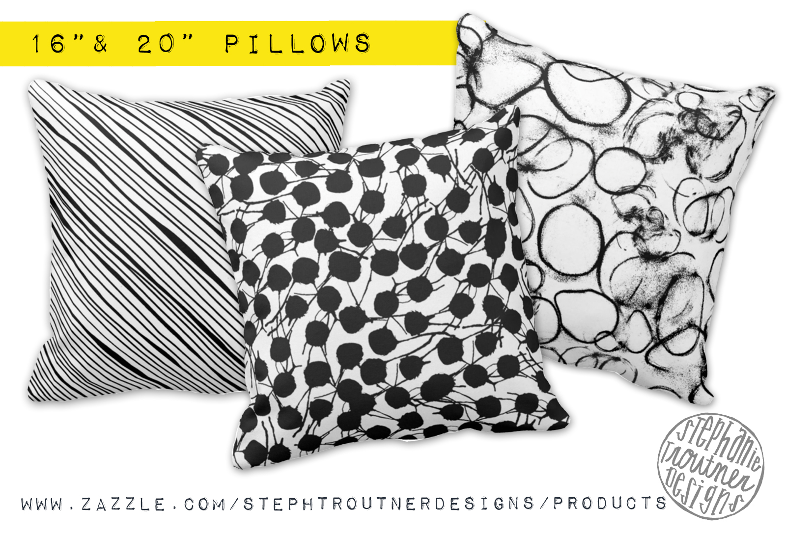 Bold Pillows in black & white