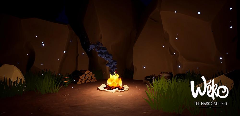 Wéko The mask Gatherer - Campfire at night // Screenshot #1