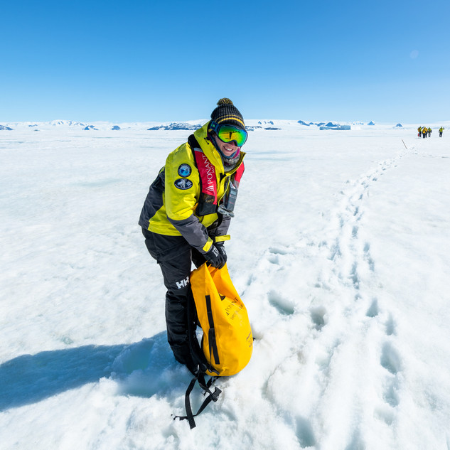 At work on the sea ice in Antarctica.