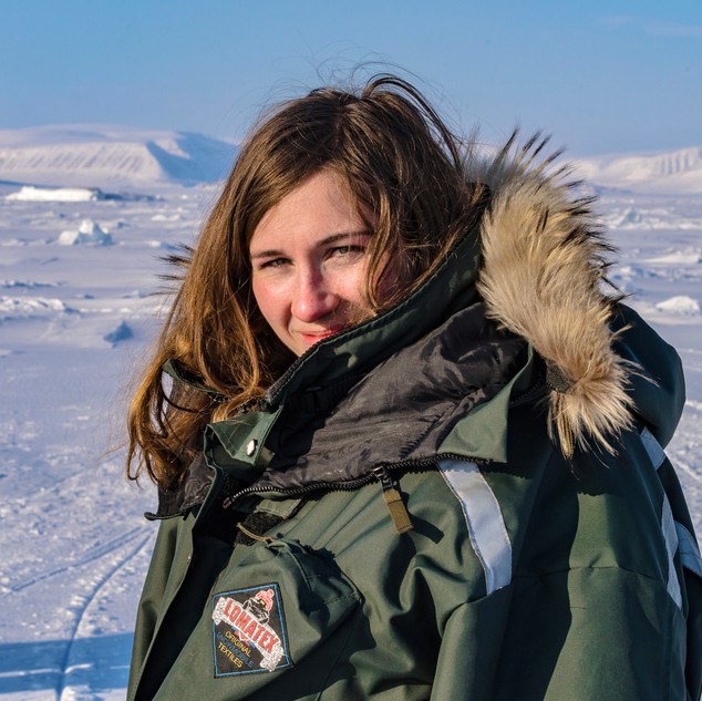 On a snowmobile trip on Svalbard.