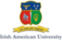 Irish American University below crest wi