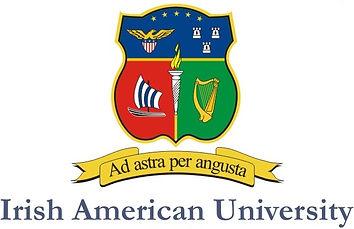 Irish American University below crest wi