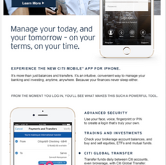 Citi Mobile App new feature launch email