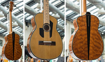 Red dot Parlor guitar by Thierry Andre Instruments