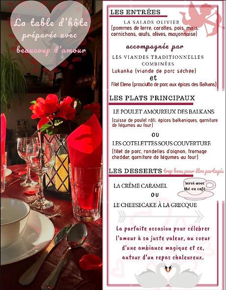 Menu de la St-Valentin