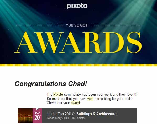 Pixoto Top 20% for January 2014 Building & Architecture