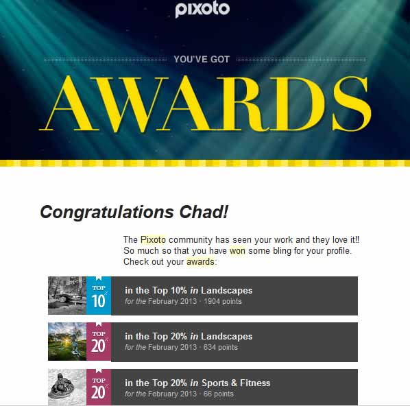 Pixoto Top 10% Febraury Landscape, Top 20% Feb Landscape, Top 20% Feb sports & fitness