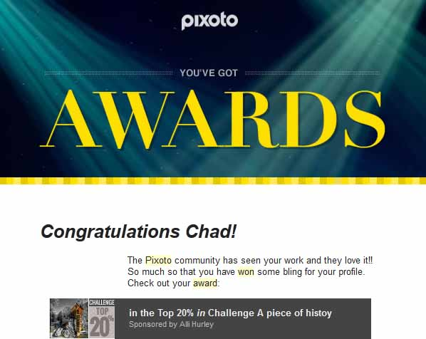 Pixoto Top 20% in Challenge A Piece of History 2014