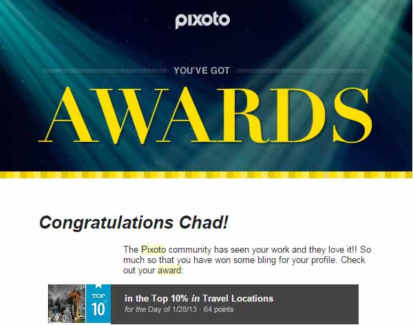 Pixoto Top 10% of the Day Travel Location  1-28-13