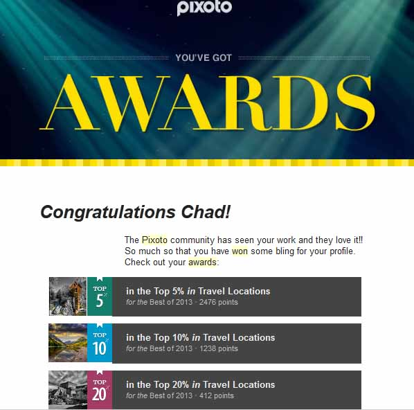 Pixoto Top 5% Best of 2013 Travel Locations, Top 10% Best of 2013 Travel Locations, Top 20% Best of