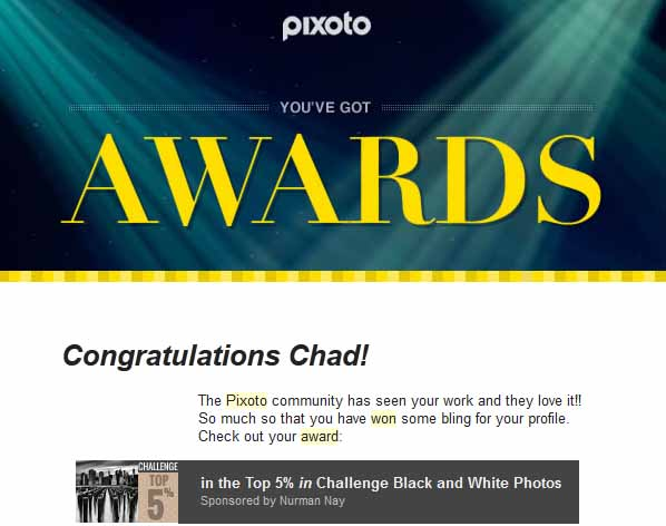 Pixoto Top 5% in Challenge Black & White 2014