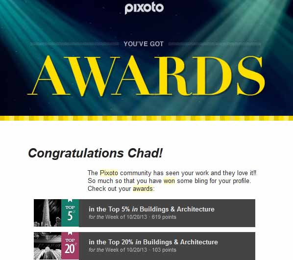 Pixoto Top 5% week Building & Architecture, Top 20% week Building & Arch 10-20-13