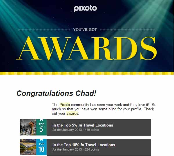 Pixoto Top 5% January 2013 Travel, Top 10% January 2013 Travel