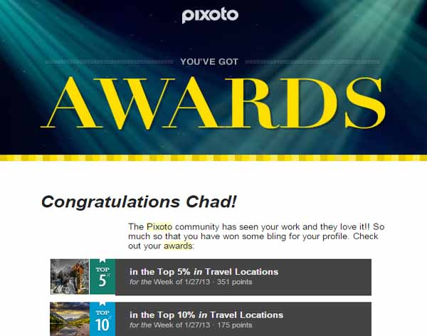 Pixoto Top 5% week Travel, Top 10% Travel Week 1-27-13