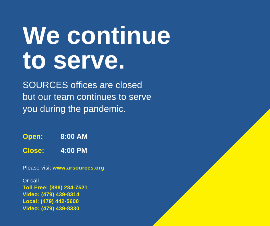SOURCES continues to serve during the pandemic, weekdays from 8 am to 4 pm