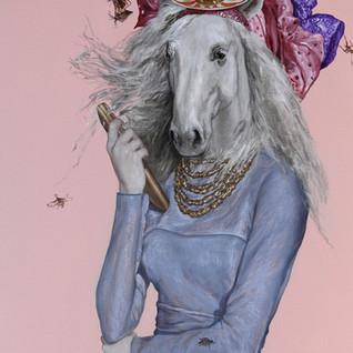 """Haute Couture at Keeneland, Spring II Acrylic on Canvas 39"""" x 26"""" SOLD 2020"""