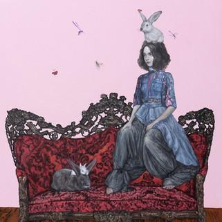 "The Royal Rabbit II Acrylic on Canvas 32"" x 36"" 2019"