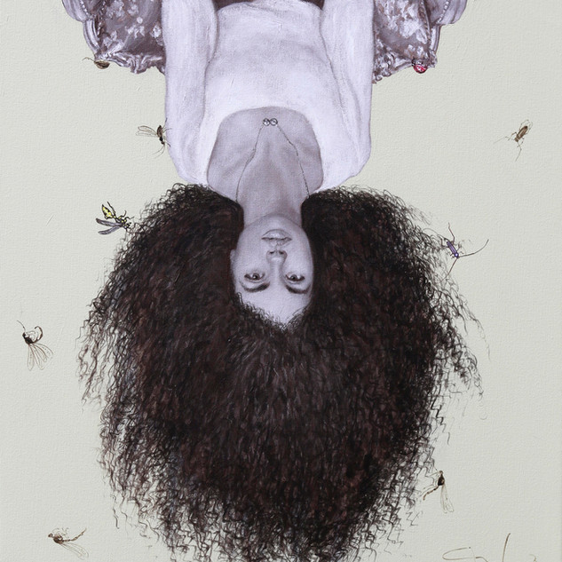 "Girl Hanging Upside Down Acrylic on Canvas 24"" x 32"" 2019"