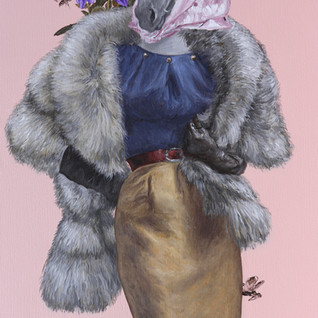 """Haute Couture at Keeneland, Autumn  Acrylic on Canvas 24"""" x 39"""" 2020"""
