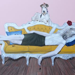 "The Rest of Marat Acrylic on Canvas 32"" x  46"" 2020"