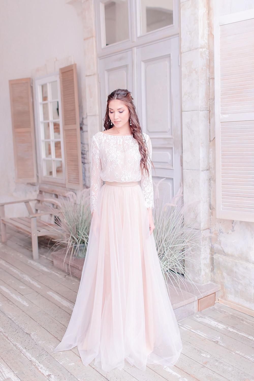 Скромное закрытое свадебное платье Vanessa в стиле Бохо
