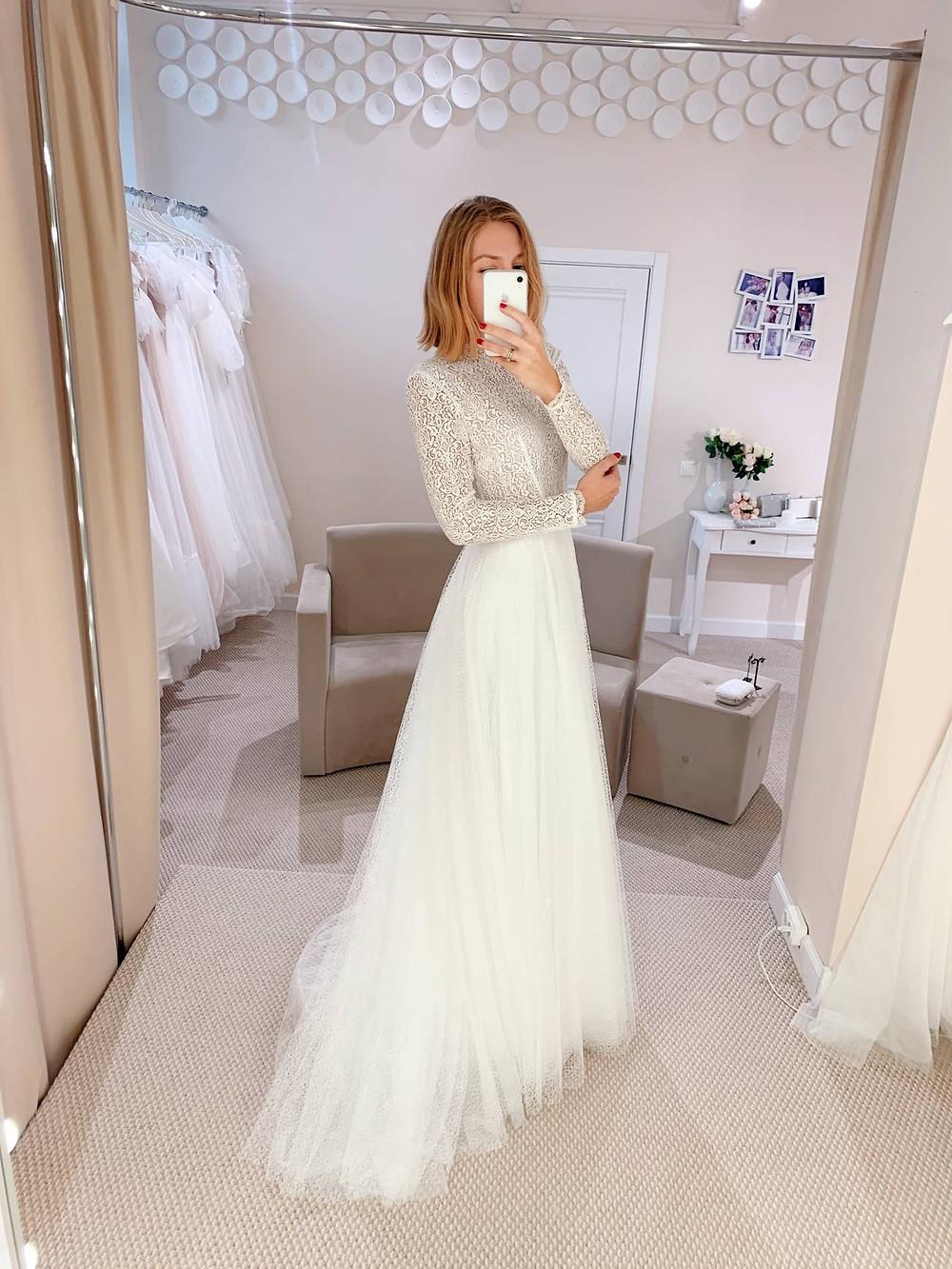 Закрытое свадебное платье Grace из фатина и кружева