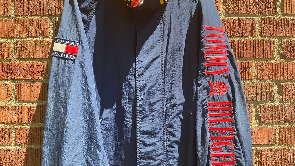 Red Tommy Hilfiger Crest Spellout Windbreaker