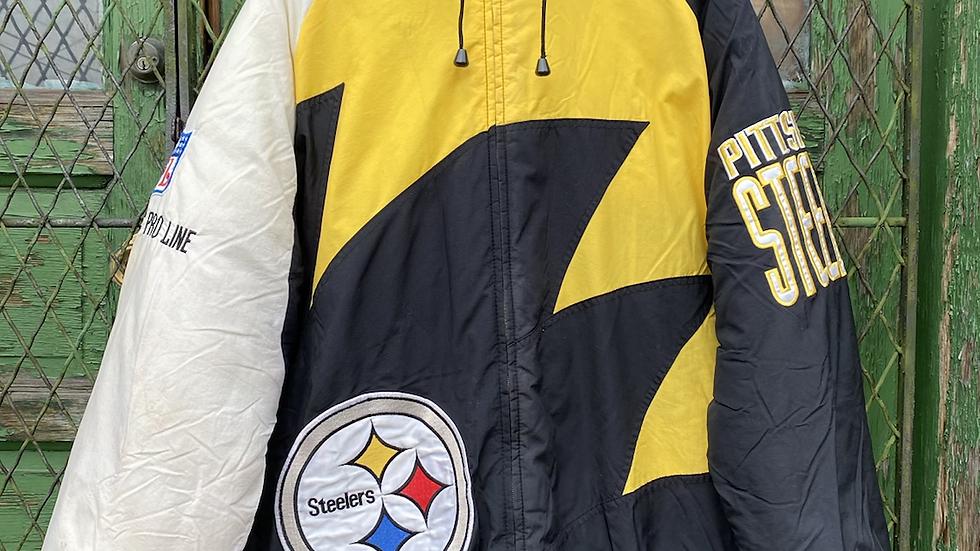 90's Logo Athletic Steelers Sharktooth Puffer Jacket