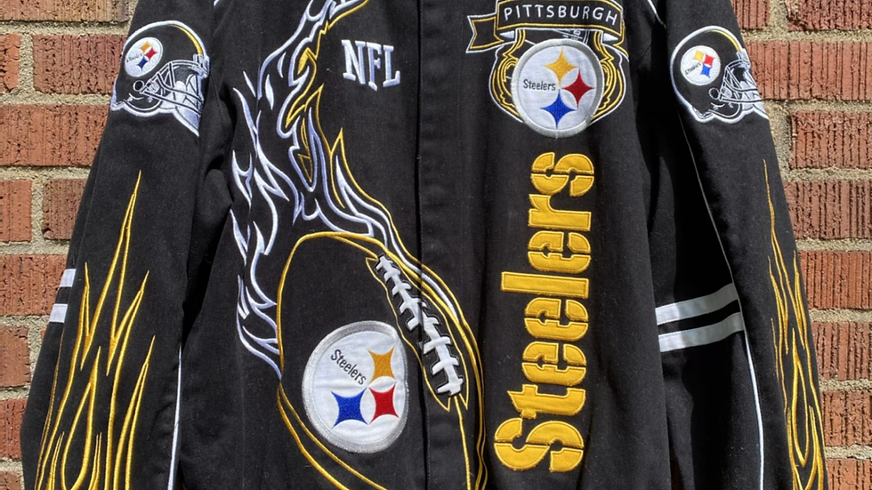 Steelers Flaming Football Jacket