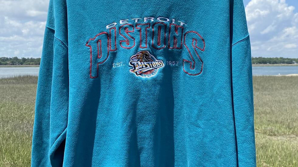 90's Aqua Detroit Pistons Crewneck