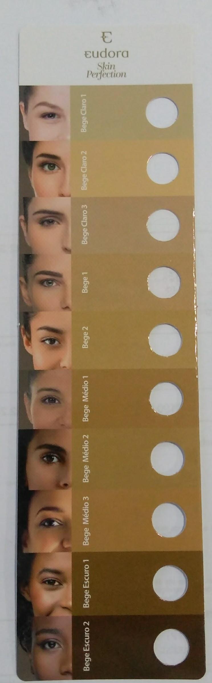 Tabela de Cores da Base Skin Perfection