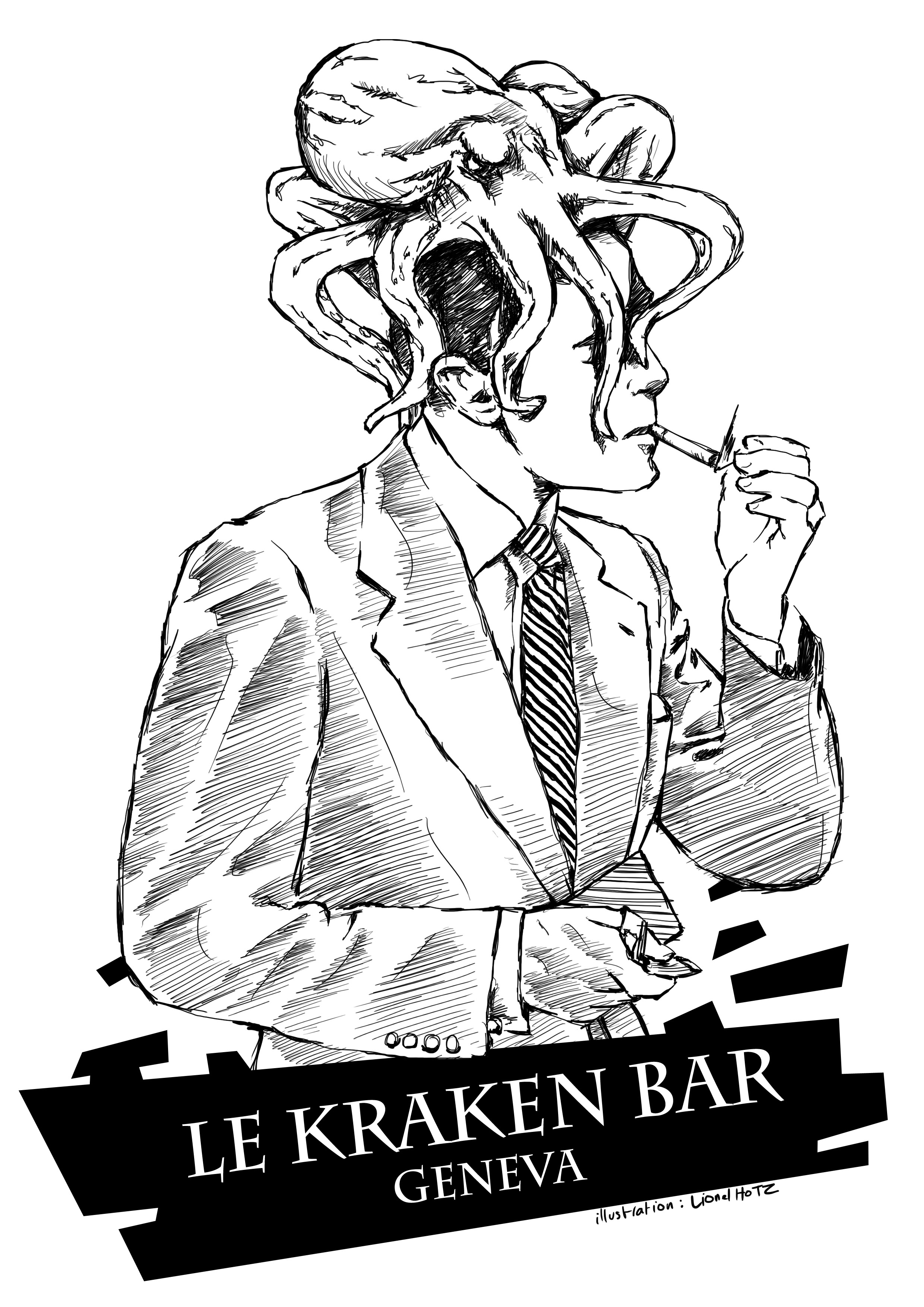 Illustration goblet Le Kraken Bar