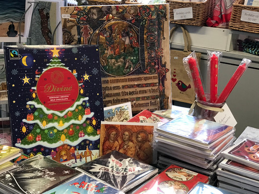 Christmas cards, candles and calendars in the shop!