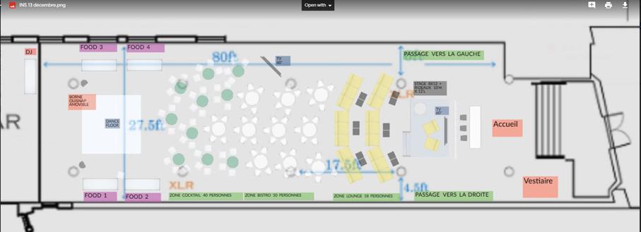 Plan de salle - Loft Hôtel salle Sherbrooke